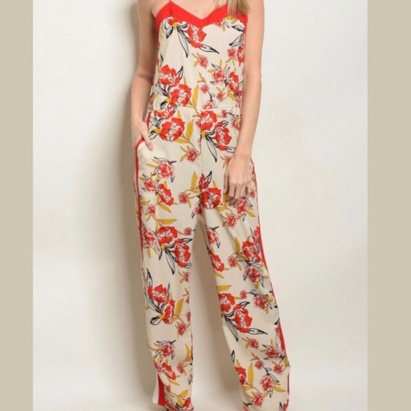 Floral V Neck Silky & Striped Jumpsuit
